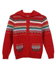 Lilliput Kids Full Sleeves Hooded Cardigan with Assorted Pattern - Red
