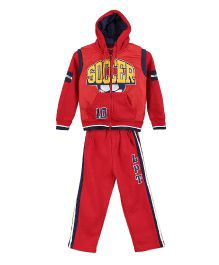 Lilliput Kids Full Sleeves Soccer Print Jacket With Track Pants - Red
