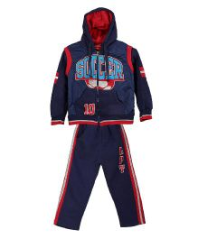 Lilliput Kids Full Sleeves Soccer Print Jacket With Track Pants - Navy Blue