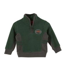 Lilliput Kids Full Sleeves Snuggle Neck Jersey - Moss Green & Grey