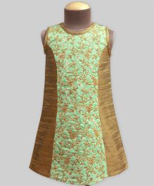 A.T.U.N Embroidered Princess Dress - Green & Gold