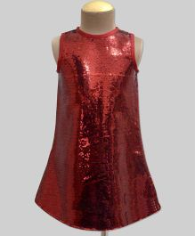 A.T.U.N Sequins A Line Dress - Red