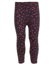 Earth Conscious Organic Cotton Leggings With Floral Print - Red