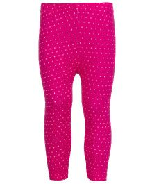 Earth Conscious Organic Cotton Leggings With Dotted Print - Dark Pink