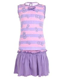 Earth Conscious Sleeveless Printed Organic Cotton Top And Skirt - Purple