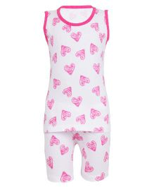 Earth Conscious Organic Cotton Heart Printed Top & Shorts Set - White