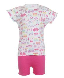 Earth Conscious Organic Flutter Sleeves Butterfly Printed Top & Shorts Set - Pink