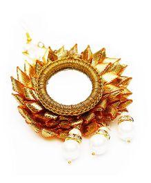 D'chica Gota And Pearl Work Paasa Jewellery - Orange