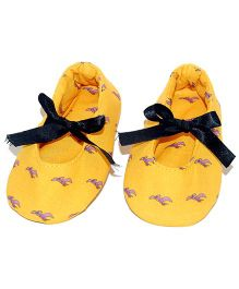 SnugOns Baby Shoes With Dinosaur Print - Yellow