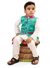 Raghav I love Stache Embroidered Quirky Ethnic Koti - Turquoise