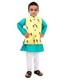 Raghav Chirpy Bird Embroidered Quirky Koti - Lemon Yellow