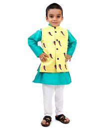 Raghav Chirpy Bird Embroidered Quirky Koti - Lemon Yellow