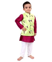 Raghav Chirpy Bird Embroidered Quirky Koti - Mint Green