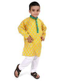 Raghav Printed Kurta & Pajama Set - Mustard