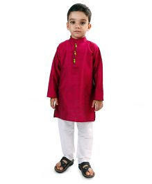Raghav Kurta & Pyjama Set - Raspberry Red