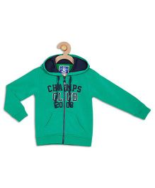 612 League Full Sleeves Hooded Jacket Champs Club Print - Green