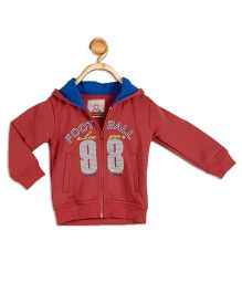 612 League Full Sleeves Hooded Jacket Football Print - Coral
