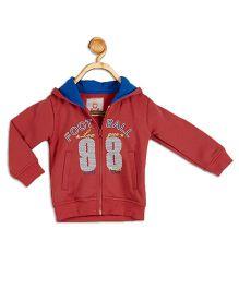 612 League Full Sleeves Hooded Jacket Football Print - Coral