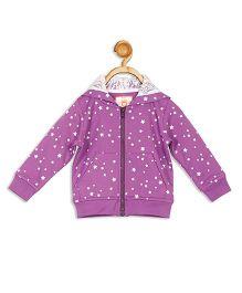 612 League Full Sleeves Hooded Jacket Stars Print - Purple