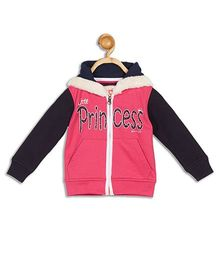 612 League Full Sleeves Hooded Jacket Princess Print - Pink Black