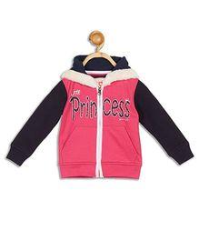 612 League Full Sleeves Hooded Jacket Princess Print - Pink Black