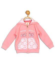 612 League Full Sleeves Hooded Jacket Cuties Print - Pink