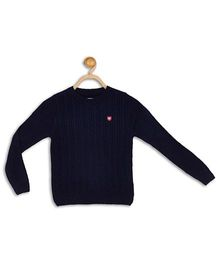612 League Full Sleeves Flat Knit Cable Sweater - Blue