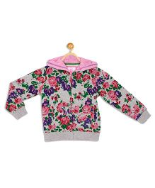 612 League Full Sleeves Floral Print Fleece Jacket - Grey