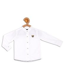 612 League Full Sleeves Mandarin Collar Shirt - White