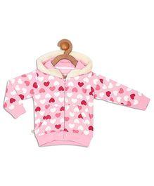 612 League Full Sleeves Hooded Jacket Heart Print - Pink