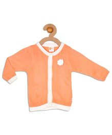 612 League Full Sleeves Cardigan Flower Applique - Peach