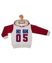 612 League Full Sleeves Hooded Jacket High 5 Print - Grey