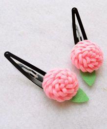 Pretty Ponytails Wool Felt Carnations Clip - Pink