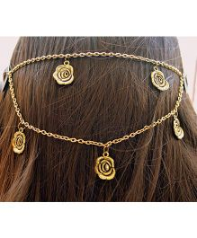 Pretty Ponytails Roses Head Chain - Golden