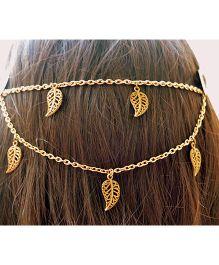 Pretty Ponytails Ornate Leaves Hair Clip - Golden