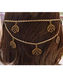 Pretty Ponytails Ornate Hearts Hair Clip Head Chain- Golden