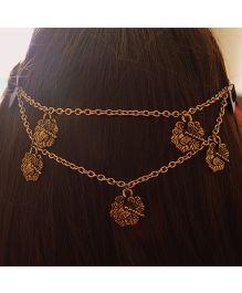 Pretty Ponytails Ornate Dragonfly Leaf Head Chain - Golden