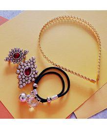 Pretty Ponytails Twirl With Kundan Set - Gold