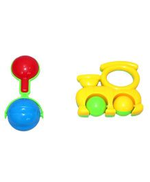 Mamaboo Rattle Set Train And Bell Ball Multicolor - 2 Pieces