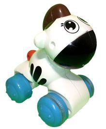Mamaboo Push Down And Chase Animals Toy - White