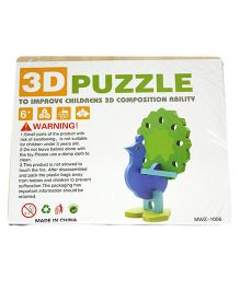 Mamaboo Wooden 3D Animal Puzzle Peacock Blue Green - 5 Pieces