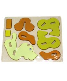 Mamaboo Wooden 3D Animal Puzzle Dog Brown - 8 Pieces