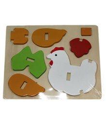 Mamaboo Wooden 3D Animal Puzzle Chicken Multicolor - 7 Pieces
