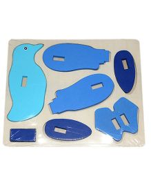 Mamaboo Wooden 3D Animal Puzzle Penguin Blue - 7 Pieces