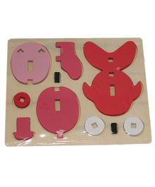 Mamaboo Wooden 3D Animal Puzzle Fish Pink - 7 Pieces