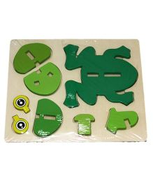 Mamaboo Wooden 3D Animal Puzzle Frog Green - 8 Pieces