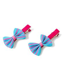Milonee Stripe Bow Clips - Blue