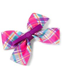 Milonee Checks Bow Clip - Pink & Purple
