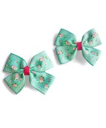 Milonee Floral Print Bow Clips - Sea Green