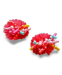 Milonee Bow Clips With Curly Ribbons - Red